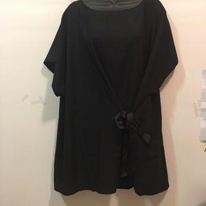 Lane Bryant black wrap side tie blouse size 22/24